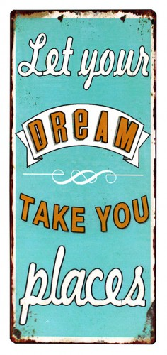 em3800 let your dreams take you places tekstbord uitspraken gezegde spreuken rustiek tekst bord cadeau kado online metaal