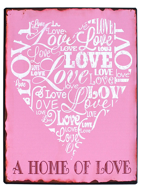 em3879 a home of love rustiek tekst bord cadeau kado online metaal deco decoratie