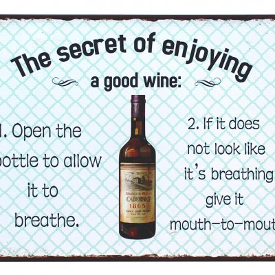 em5099 the secret of enjoying a good wine rustiek tekst bord cadeau kado online metaal deco decoratie