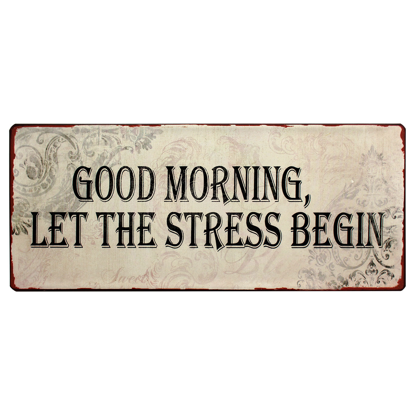 N em1369 good morning let the tress begin spreukenbord tekstbord uitspraken gezegde spreuken rustiek bord cadeau