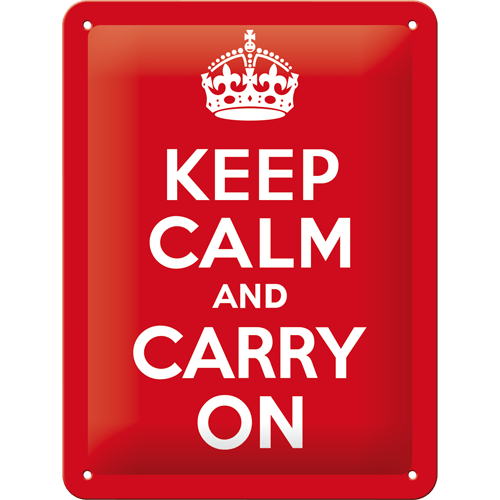 Gebold tin bord:  Keep Calm and Carry On | 15 x 20 cm