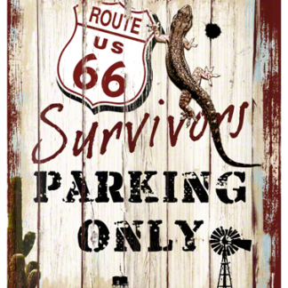 NA23148 Tin Sign Route 66 Survivors Parking Only gebold metalen bord rustiek tekstbord tekst bord cadeau kado online metaal decoratie