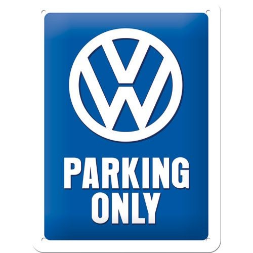 Gebold tin bord: VW PARKING ONLY | 15 x 20 cm