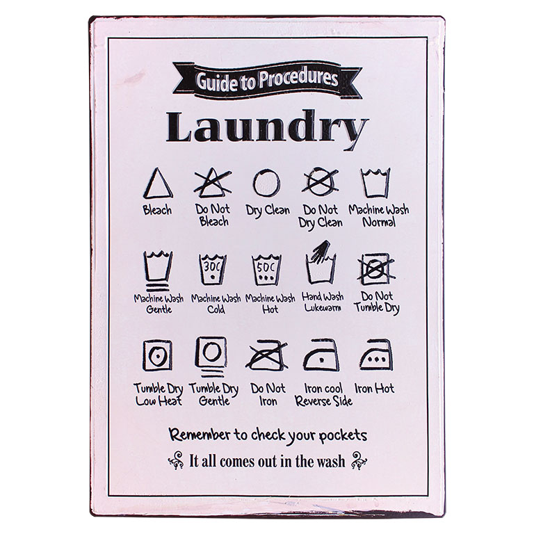 em4200 laundry instructions rustiek tekst bord cadeau kado online metaal deco decoratie