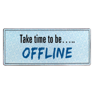 em5330 take time to be offline rustiek tekst bord cadeau kado online metaal deco decoratie tekstbord