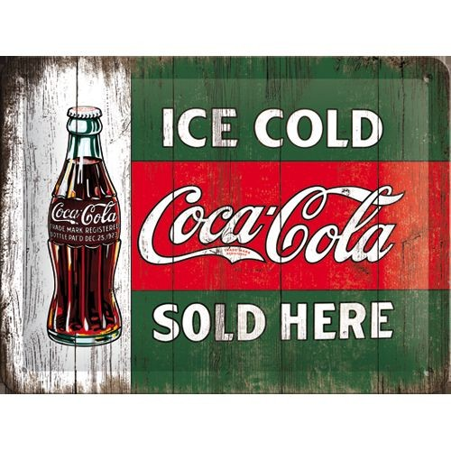 na26174 tin sign 15 x 20 coca cola vintage ice cold sold here gebold metalen bord rustiek tekstbord tekst bord cadeau kado online metaal decoratie