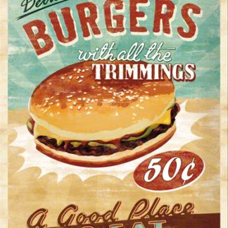 NA23119 Tin Sign 30 x 40 delicious burgers with all the trimmings-gebold-metalen-bord-rustiek-tekstbord-tekst-bord-cadeau-kado-online-metaal-decoratie