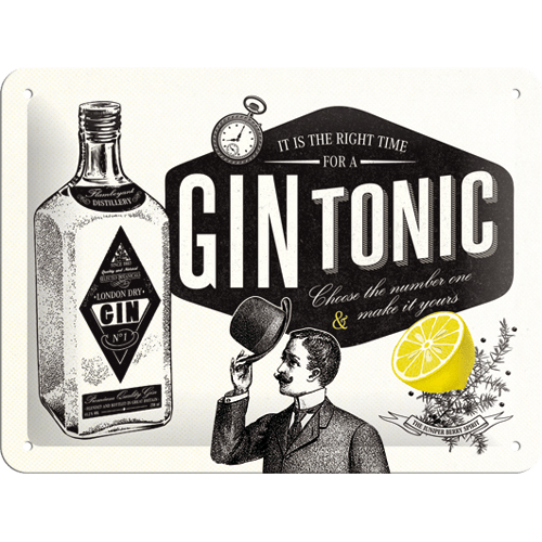 Gebold tin bord: It is the right time for a GIN TONIC | 15 x 20 cm