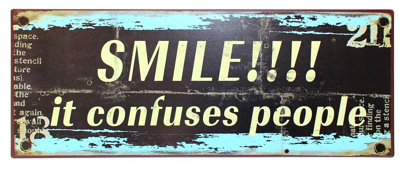 em1537 smile it confuses people spreukenbord tekstbord uitspraken gezegde spreuken rustiek bord cadeau