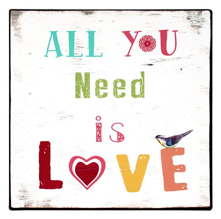 uitspraken en spreuken Tekstbord: all you need is love – Tekst Borden uitspraken en spreuken