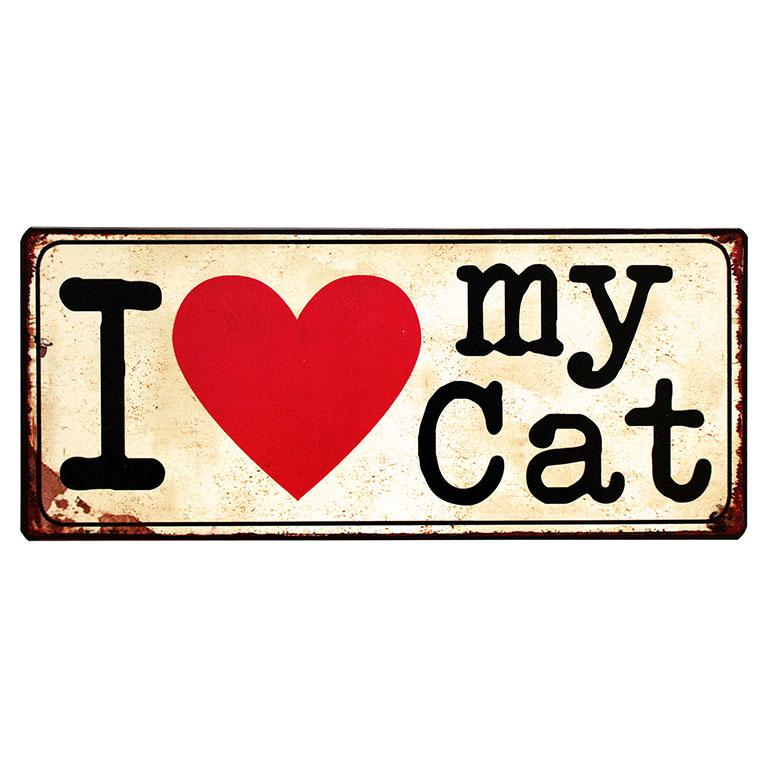 em3796-I-love-my-cat-uitspraken-gezegde-spreuken-rustiek-tekst-bord-cadeau-kado-online-metaal-v