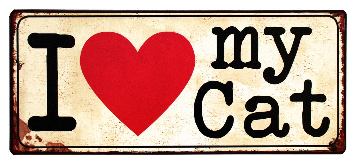 em3796 I love my cat uitspraken gezegde spreuken rustiek tekst bord cadeau kado online metaal