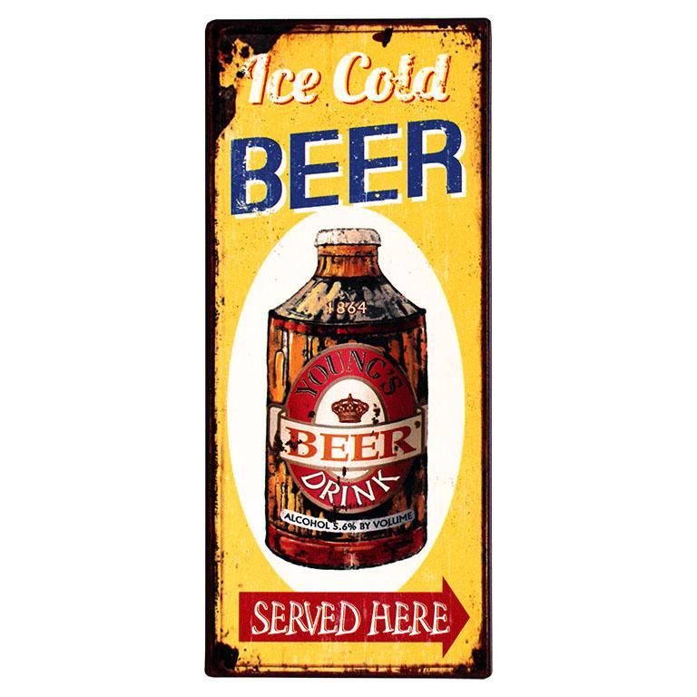 em4624-ice-cold-beer-served-here-spreukenbord-tekstbord-uitspraken-gezegde-spreuken-rustiek-tekst-bord-cadeau-kado-online-metaal v