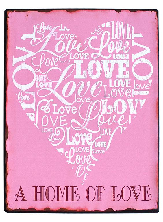 em3879 a home of love rustiek tekst bord cadeau kado online metaal deco decoratie