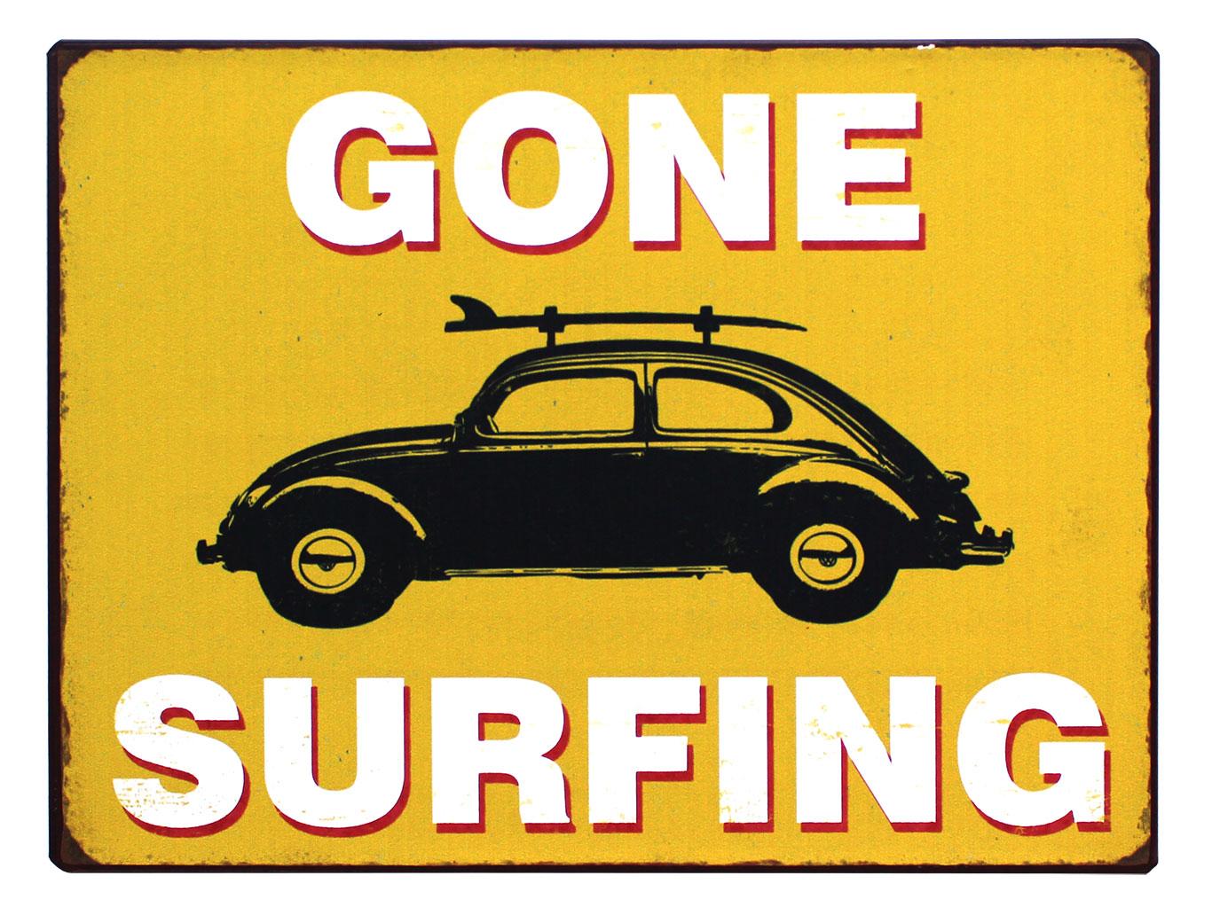em3896 gone surfing rustiek tekst bord cadeau kado online metaal deco decoratie