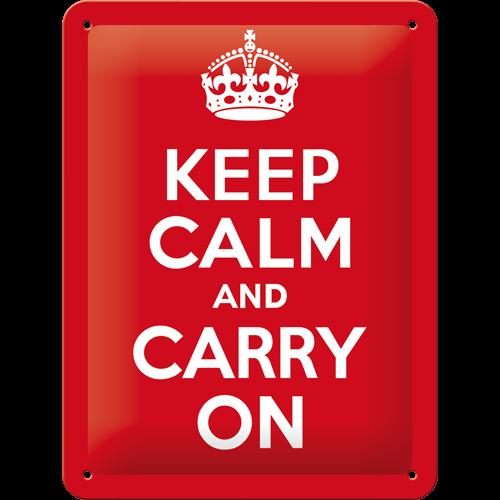 26165 Tin Sign 15x20 Keep Calm and Carry On-gebold-metalen-bord-rustiek-tekstbord-tekst-bord-cadeau-kado-online-metaal-decoratie