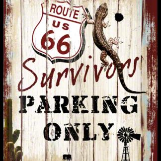 NA23148 Tin Sign Route 66 Survivors Parking Only gebold metalen bord rustiek tekstbord tekst bord cadeau kado online metaal decoratie