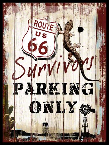 Gebold tin bord:  Route 66 Survivors Parking | 30 x 40 cm