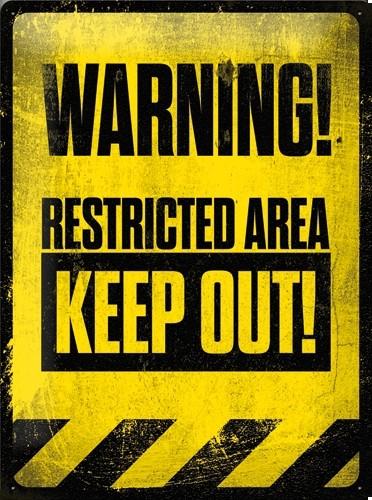NA23172 Tin Sign 30x40cm Warning Keep Out gebold metalen bord rustiek tekstbord tekst bord cadeau kado online metaal decoratie