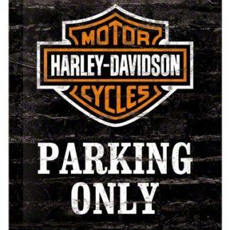 NA26117 Tin Sign harley-davidson Parking Only gebold metalen bord rustiek tekstbord tekst bord cadeau kado online metaal decoratie