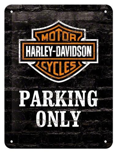 Gebold tin bord:  Harley Davidson Parking Only | 15 x 20 cm