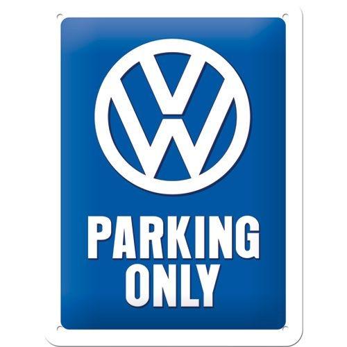 Gebold tin bord: VW PARKING ONLY | 15 x 20 cm