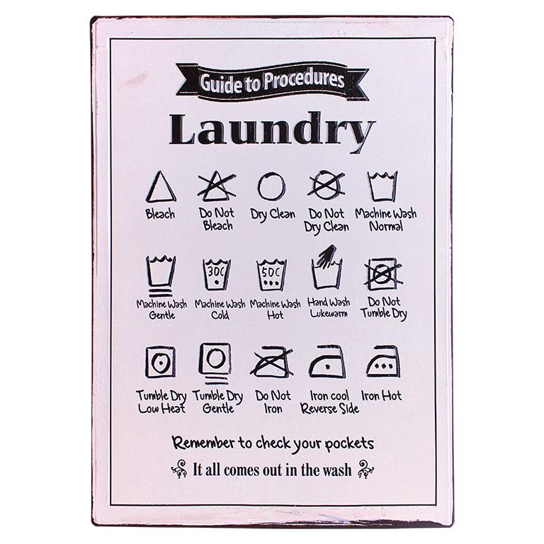 em4200 laundry instructions rustiek tekst bord cadeau kado online metaal deco decoratie