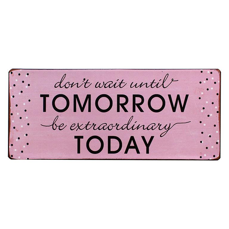 em5157 dont wait until tomorrow be extraordinary today rustiek tekst bord cadeau kado online metaal deco decoratie tekstbord