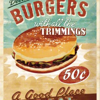 NA23119 Tin Sign 30 x 40 delicious burgers with all the trimmings-gebold-metalen-bord-rustiek-tekstbord-tekst-bord-cadeau-kado-online-metaal-decoratie