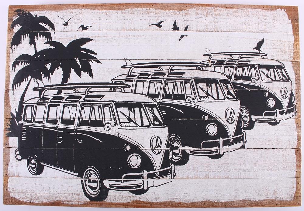 Houten tekstbord:  Mini Bulli bus Volkswagen (58×40)