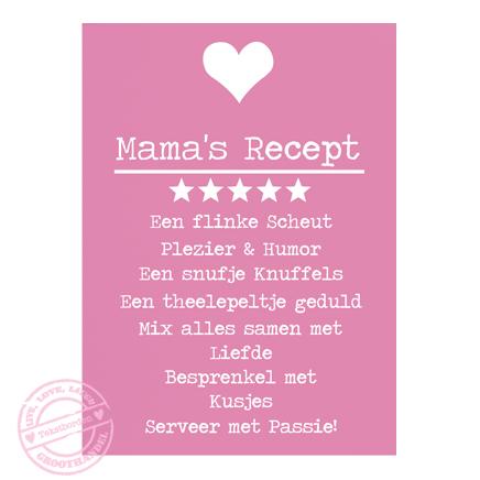 Houten tekstbord – Mama's Recept – kleur Roos