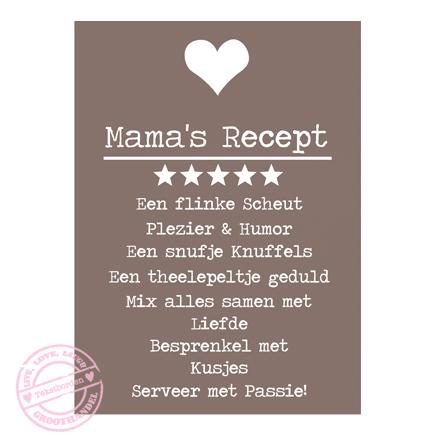 Houten tekstbord – Mama's Recept – kleur Taupe