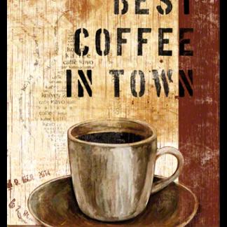 NA22156 best coffee in town-gebold-metalen-bord-rustiek-tekstbord-tekst-bord-cadeau-kado-online-metaal-decoratie
