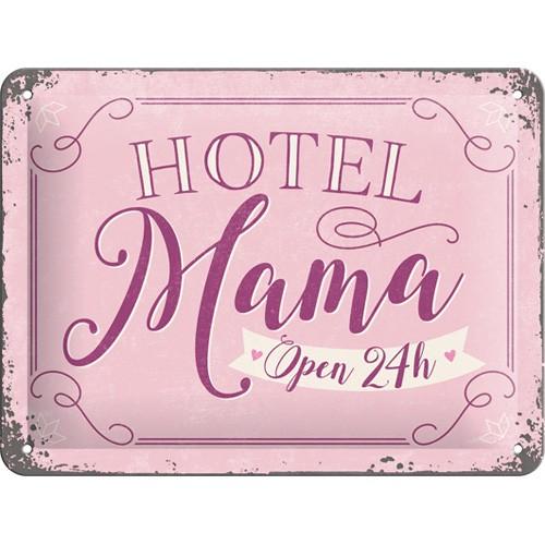 NA26197 Tin Sign 15 x 20 hotel mama open 24h-gebold-metalen-bord-rustiek-tekstbord-tekst-bord-cadeau-kado-online-metaal-decoratie