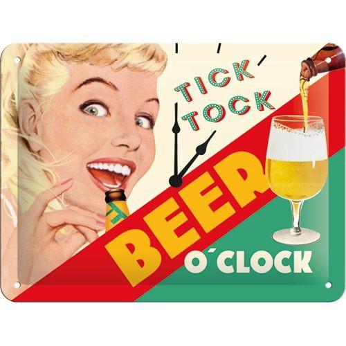 NA26213 Tin Sign 15 x 20 beer o clock-gebold-metalen-bord-rustiek-tekstbord-tekst-bord-cadeau-kado-online-metaal-decoratie